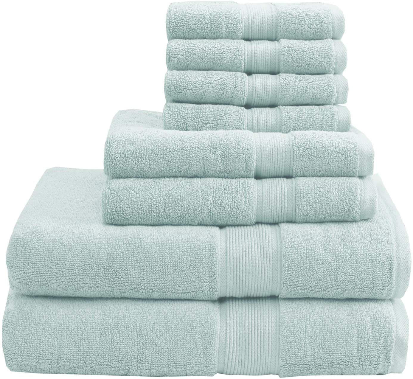 MADISON PARK SIGNATURE 800GSM 100% Cotton 8 Piece Towel Set Seafoam See Below