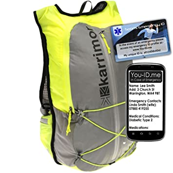 Runners Gift Set Running Hi Viz Rucksack Backpack Bag And Vital ID Sport Identity