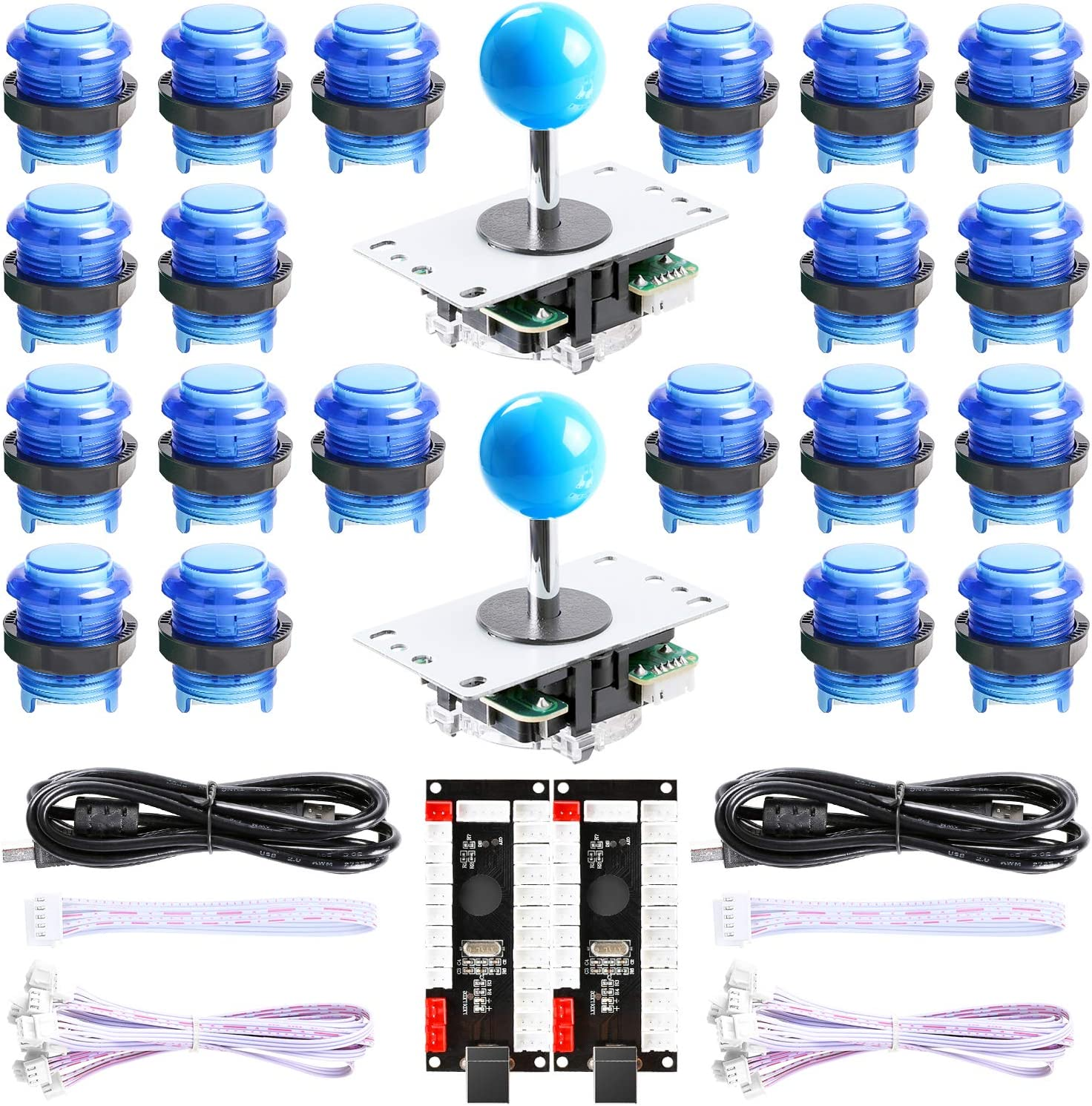 Hikig New Updated Version 2-Player LED Arcade DIY Kit - 2X Zero Delay LED USB Encoder + 2X Arcade Joystick + 20x LED Arcade Buttons for MAME, PC, Windows, Raspberry Pi, Arcade1Up (All Blue Kit)
