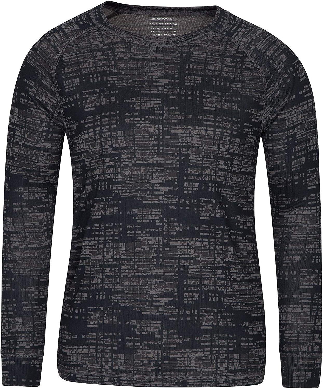 Ras-de-Cou Thermique et l/éger Mountain Warehouse T-Shirt imprim/é Talus /à Encolure Ronde pour Homme Facile d/'Entretien pour Camping en Hiver ou Ski Anti-humidit/é