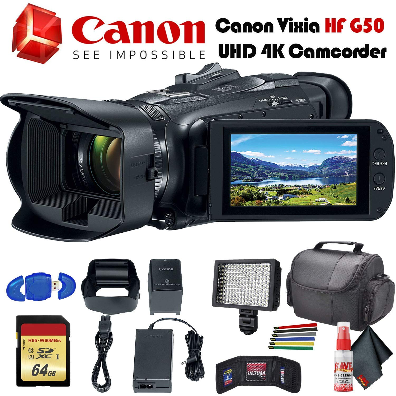 Canon Vixia HF G50 UHD 4K Camcorder (Black) (3667C002) with Padded Case, LED Light, 64GB Memory Card and More Base Bundle by Canon