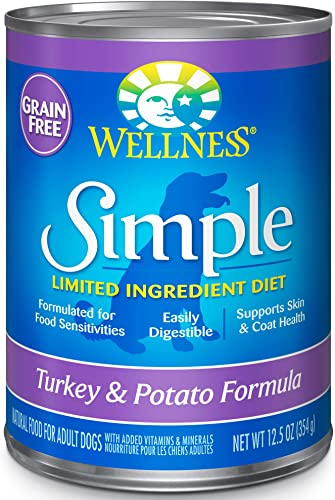Wellness Simple Natural Grain Free Wet Canned Limited Ingredient Dog Food, Turkey Potato, 12.5-Ounce Can Pack Of 12