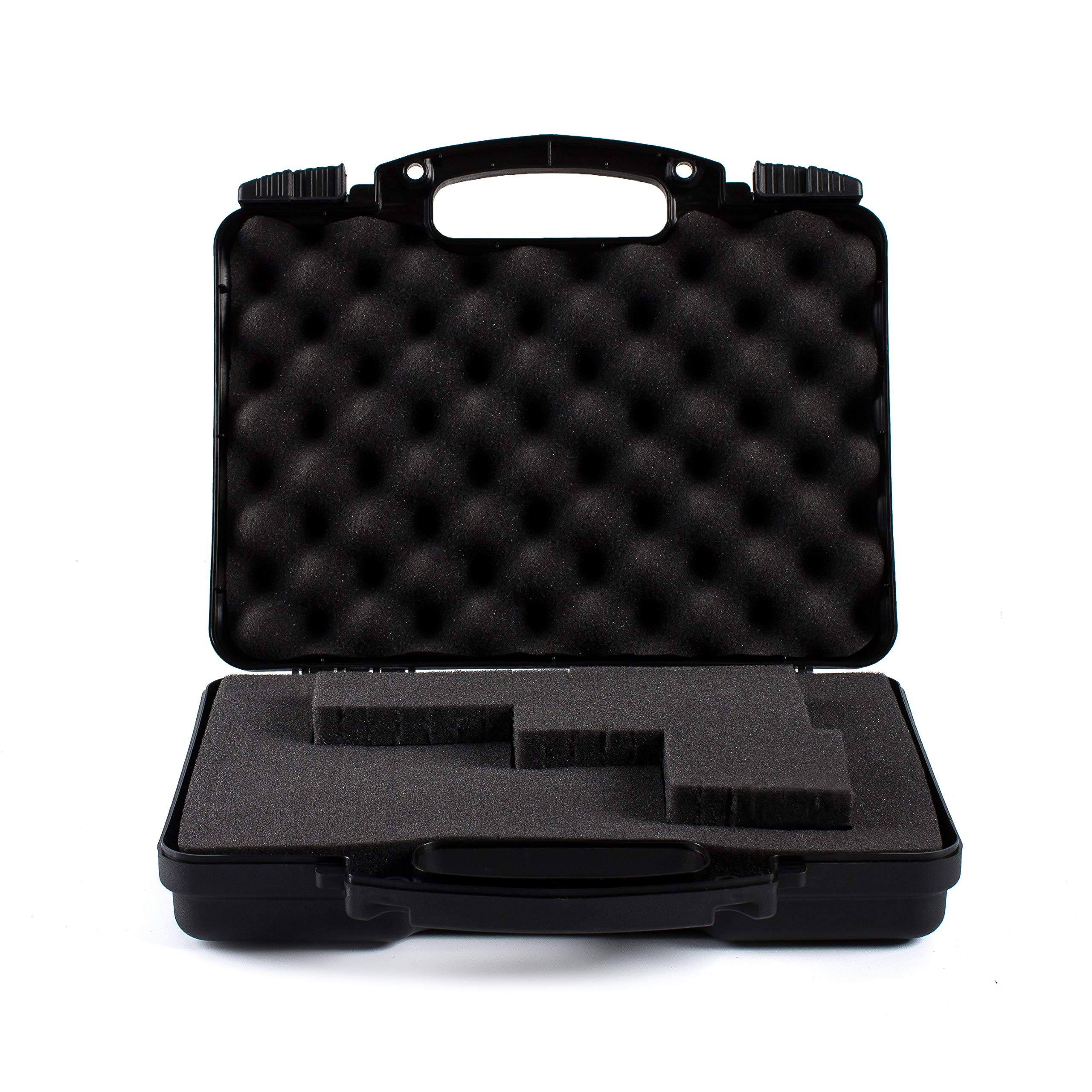 Daoe NWT110 Lockable Hard Pistol Gun Case with Pluckable Foam, TSA Approved