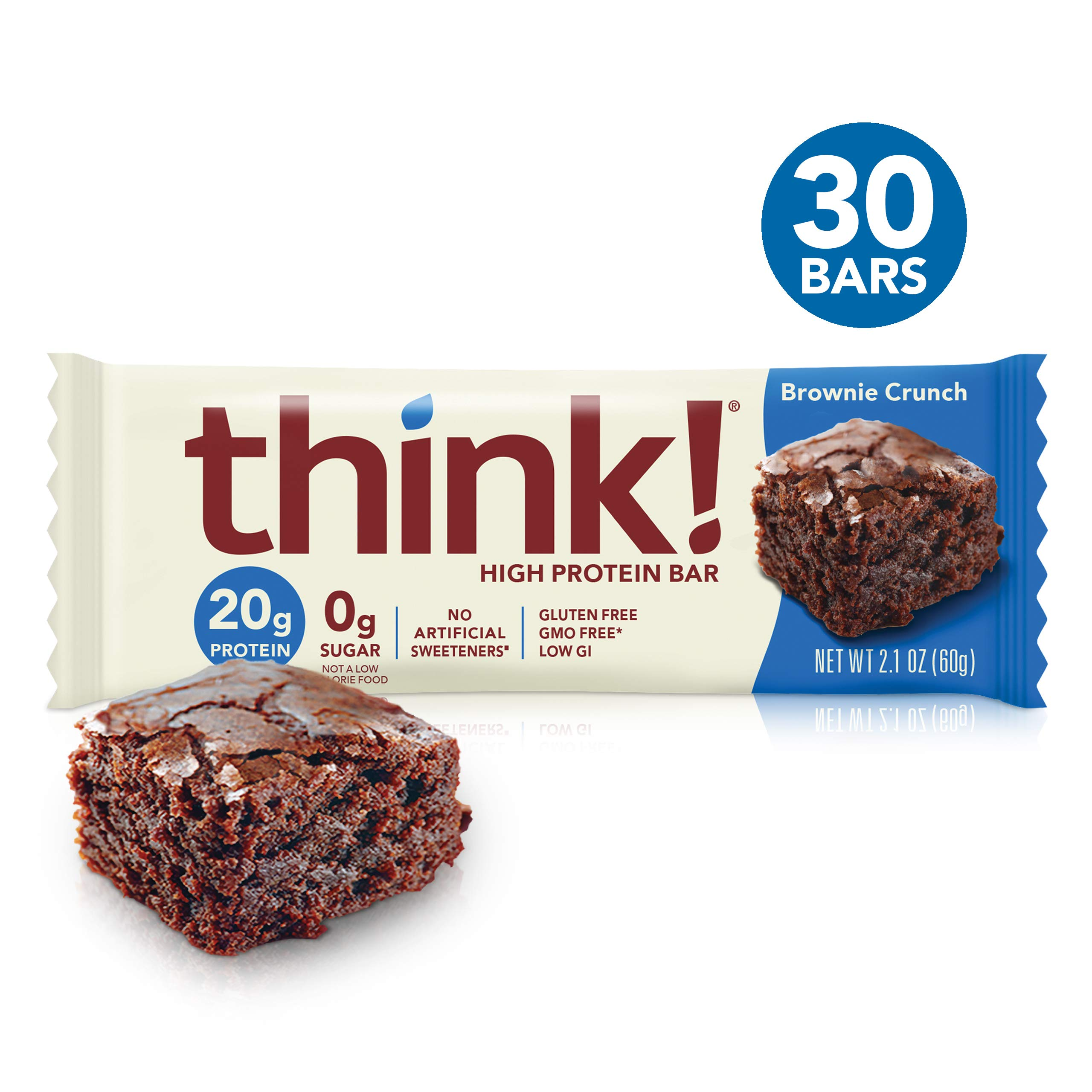 think! (thinkThin) High Protein Bars - Brownie Crunch, 20g Protein, 0g Sugar, No Artificial Sweeteners** Gluten Free, GMO Free*, 2.1 Ounce (30 Count) - Packaging May Vary by think!