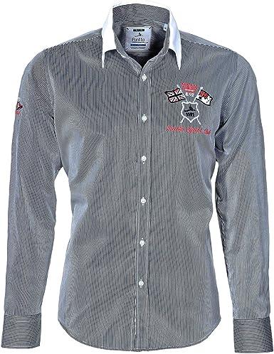 Pontto - Camisa casual - Rayas - con botones - Manga Larga - para hombre