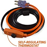 9milelake Cold Weather Pipe and Valve Heating Cable with Built-in Thermostat - 3 Feet