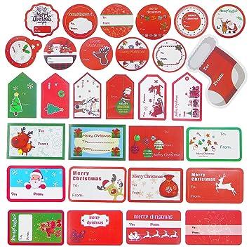 amazon com 180 pieces christmas self adhesive gift tag stickers