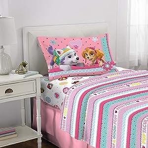 Nickelodeon Paw Patrol Kids Bedding Soft Microfiber Sheet Set, 3 Piece Twin Size, Pink/White Girls Design