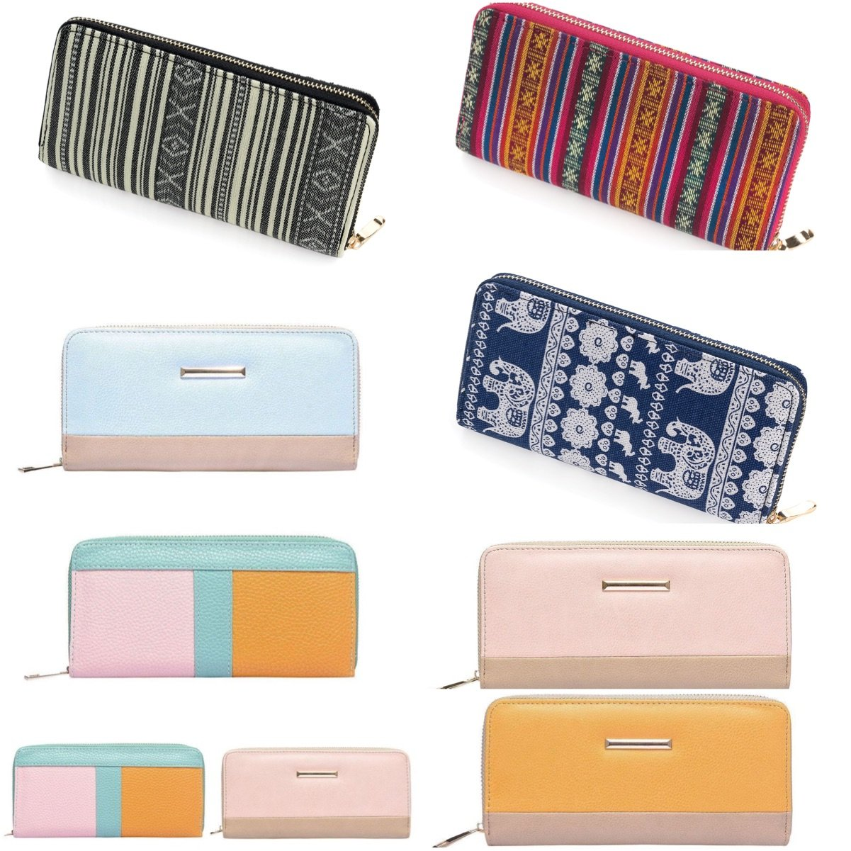 Large Purse Wallet Clutch Bag Card Holder Colour Block Tribal Print Zip Opening