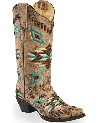 13abc76d436 CORRAL Women's Distressed Aztec Pattern Cowgirl Boot Snip Toe - E1009