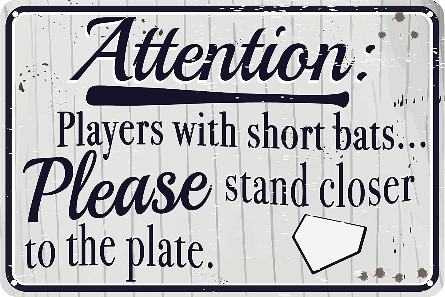 """Players with Short Bats Please Stand Closer to The Plate 12"""" x 8"""" Funny Tin Sign Baseball Sports Themed Bathroom Decor Bar Man Cave"""