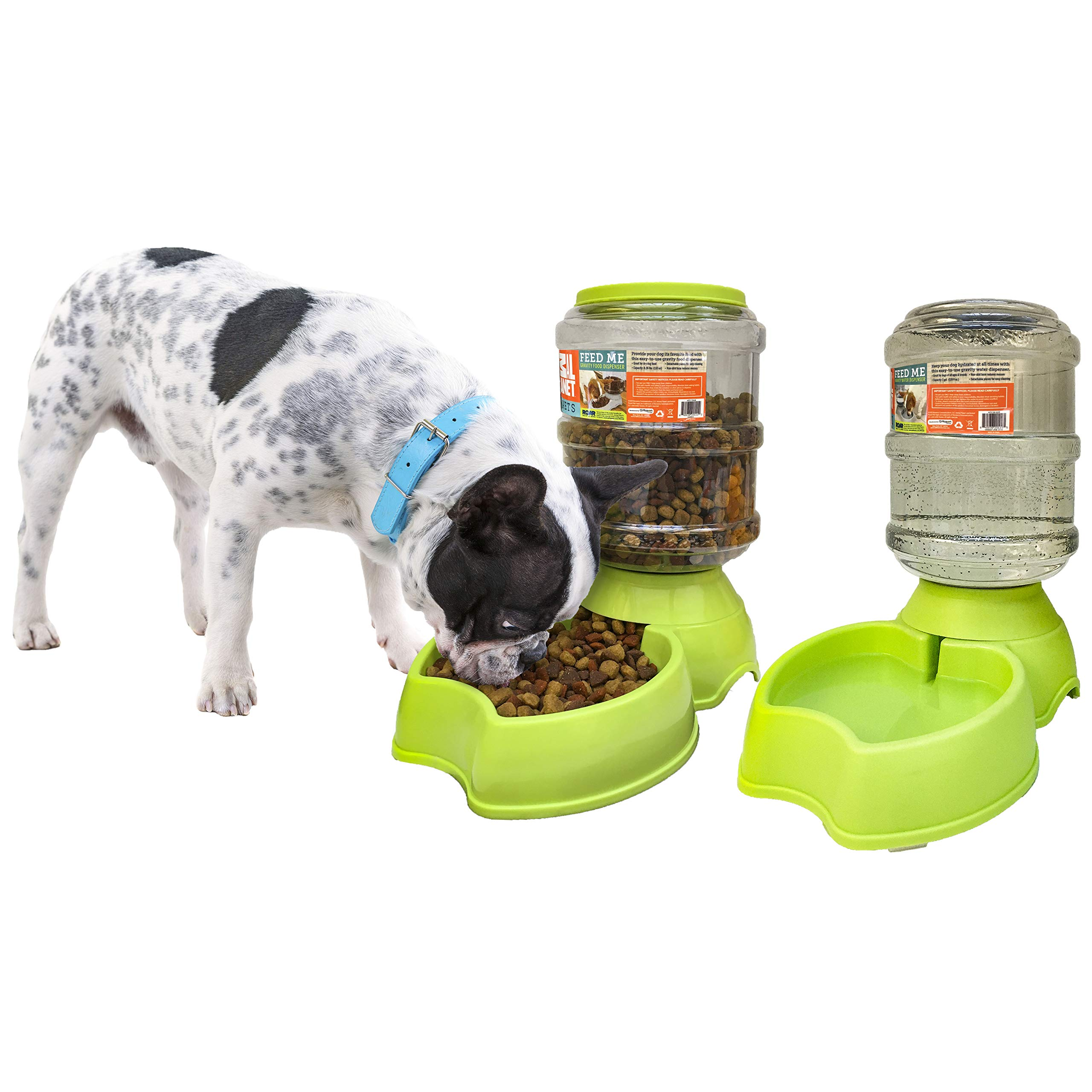 Animal Planet Self-Dispensing Automatic Gravity Pet Dog + Cat Feeder & Waterer Combo Bundle for Dogs & Cats - 2 Pack Value Set (Lime)