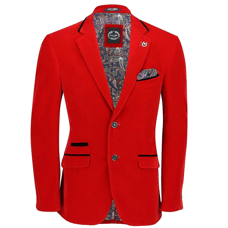 Xposed Mens Retro Vintage Soft Velvet Blazer Tailored Fit Smart Casual Black Trim Dinner Jacket