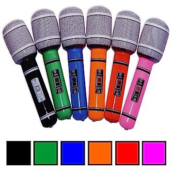 3 x - Micrófono Inflable Aprox. 24 cm Micrófono Multicolor ...