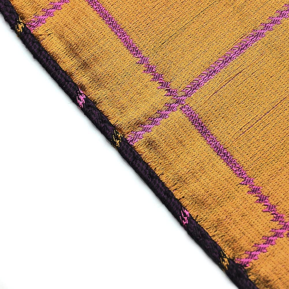 PenSee 100/% Silk Woven Purple /& Pink /& Black /& Gold Plaids Pocket Square