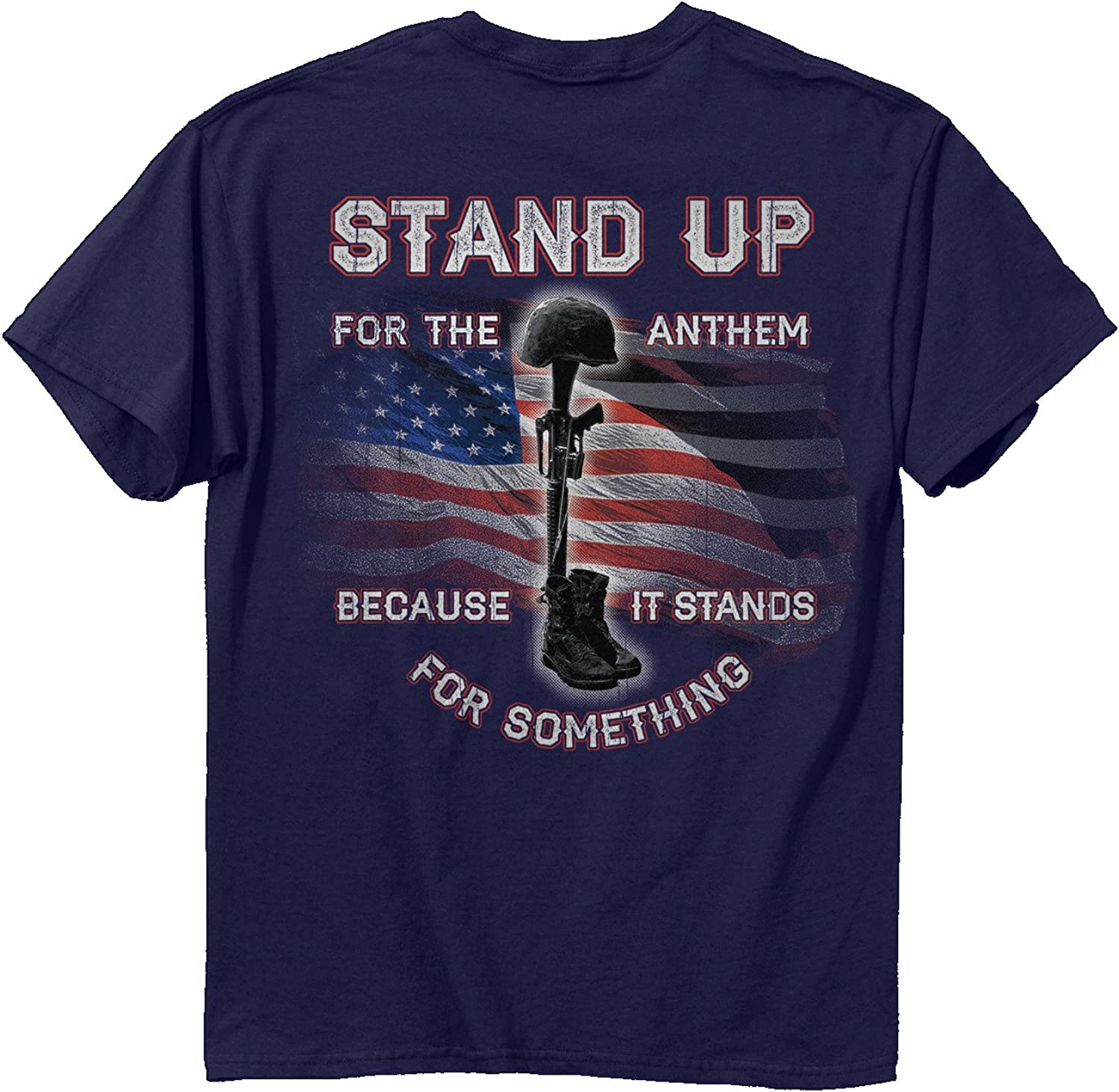 Buck Wear Unisex-Adult Stand up for The Anthem t-Shirt, Navy