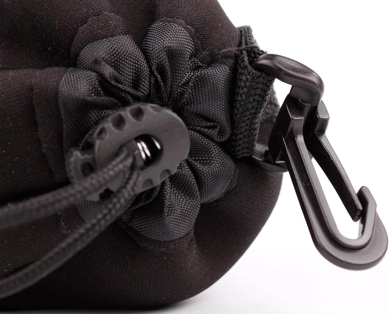 DURAGADGET Medium Padded Camera Lens Case Compatible with Nikon AF-S//AF//AF-DC//PC-E Lenses in Black