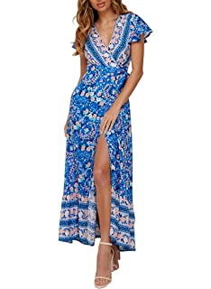 bf01b34ac2 ZESICA Women s Bohemian Floral Printed Wrap V Neck Short Sleeve Split Beach  Party Maxi Dress
