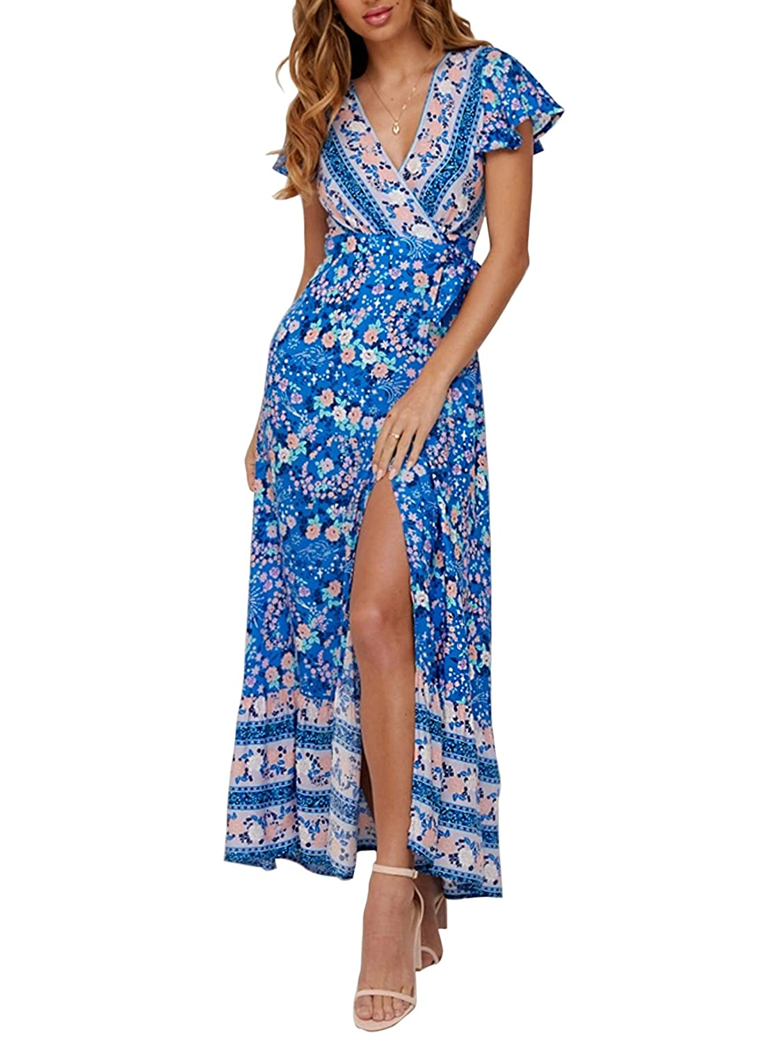 b79b0005dac ZESICA Women s Bohemian Floral Printed Wrap V Neck Short Sleeve Split Beach  Party Maxi Dress at Amazon Women s Clothing store