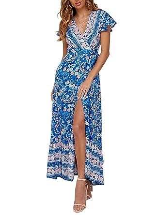 fcb6552f23e ZESICA Women s Bohemian Floral Printed Wrap V Neck Short Sleeve Split Beach  Party Maxi Dress Blue
