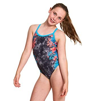 f0f077864af Zoggs Girls' Wunderlust Strikeback One Piece Swimsuit, Black/Multi, Size 26  UK