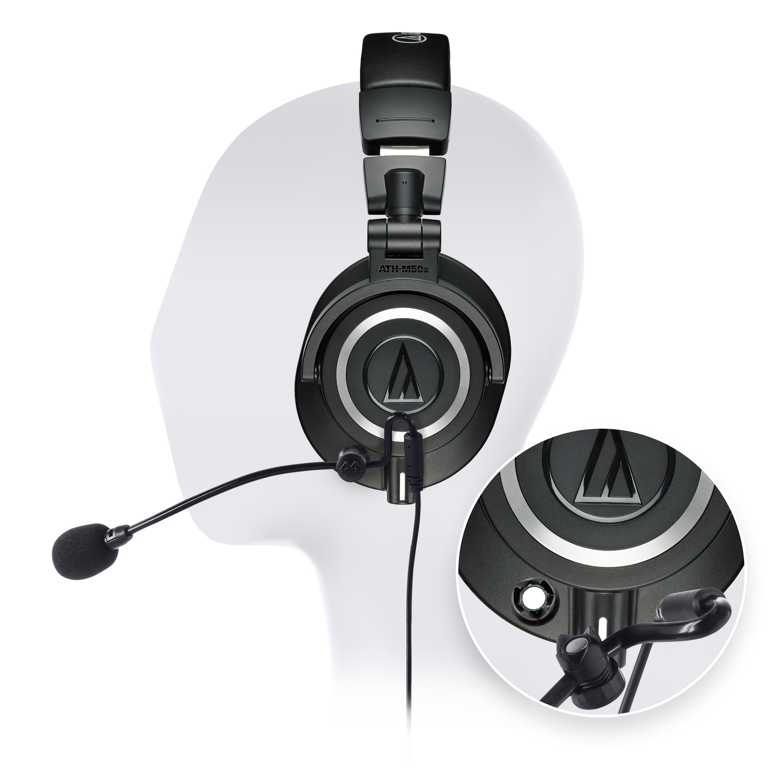 Audio-Technica ATH-M50x Professional Studio Headphone - INCLUDES - Antlion Audio ModMic Attachable Boom Microphone - Noise Cancelling w/ Mute Switch + Y Splitter - ULTIMATE GAMING BUNDLE by blucoil