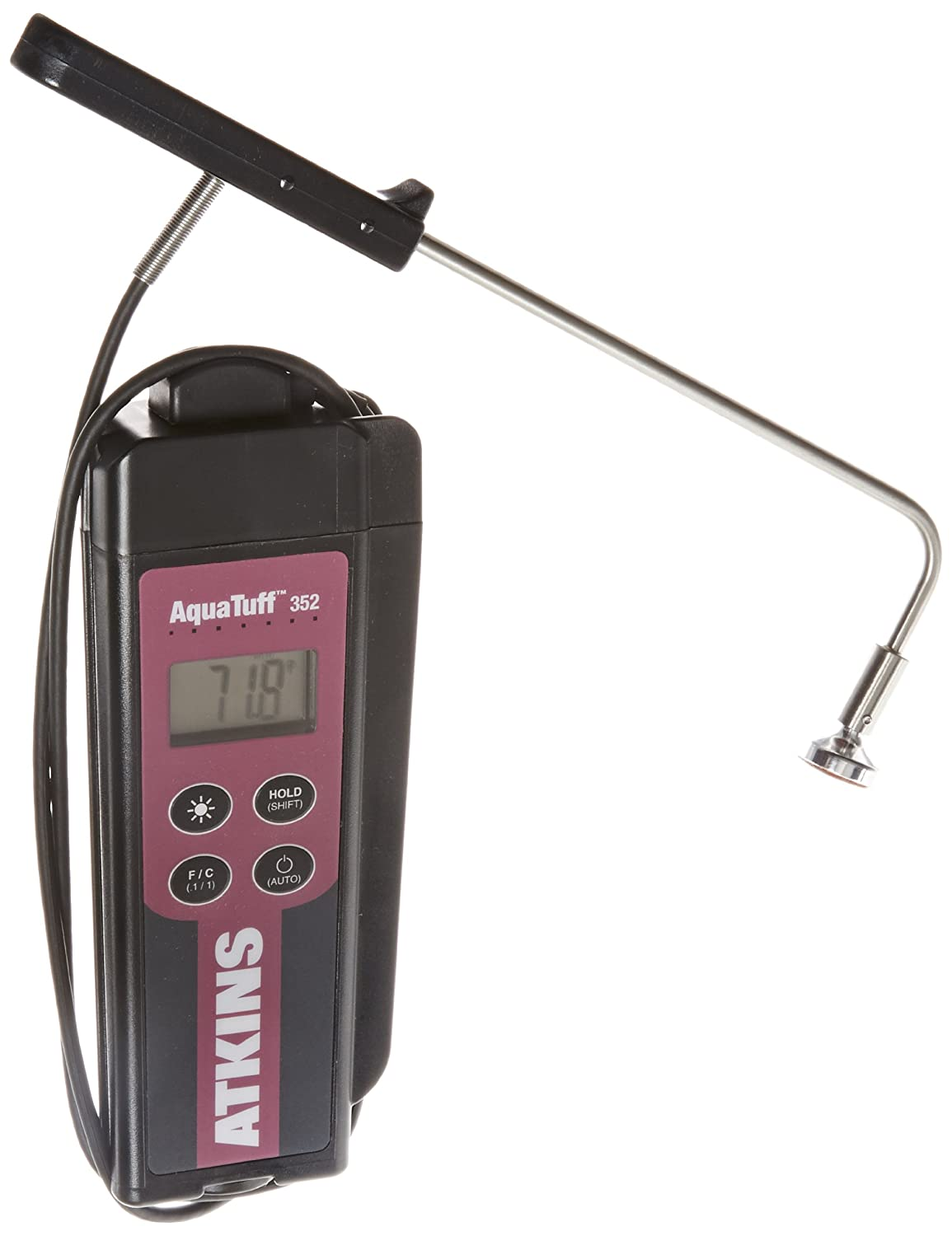 -100 to 500 Degrees F Temperature Range Cooper-Atkins 35235 Series 352 AquaTuff Wrap and Stow Waterproof Thermocouple Instruments with Angled Surface Probe