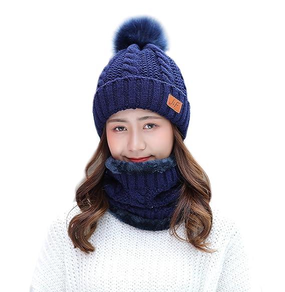 213a0893cc80cf IRELIA Womens/Mens Faux Fur Knitted Pom Fleece Lined Caps Beanie Scarf Set  002 Blue