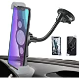 IPOW Car Phone Mount, Diagonal Clamp Full-View Windshield/Dashboard Mount Phone Holder With Strong Suction Cup& Bendable Goose Arm For iPhone X 8Plus 7Plus 6sPlus 6Plus Galaxy S7 S9 J7V