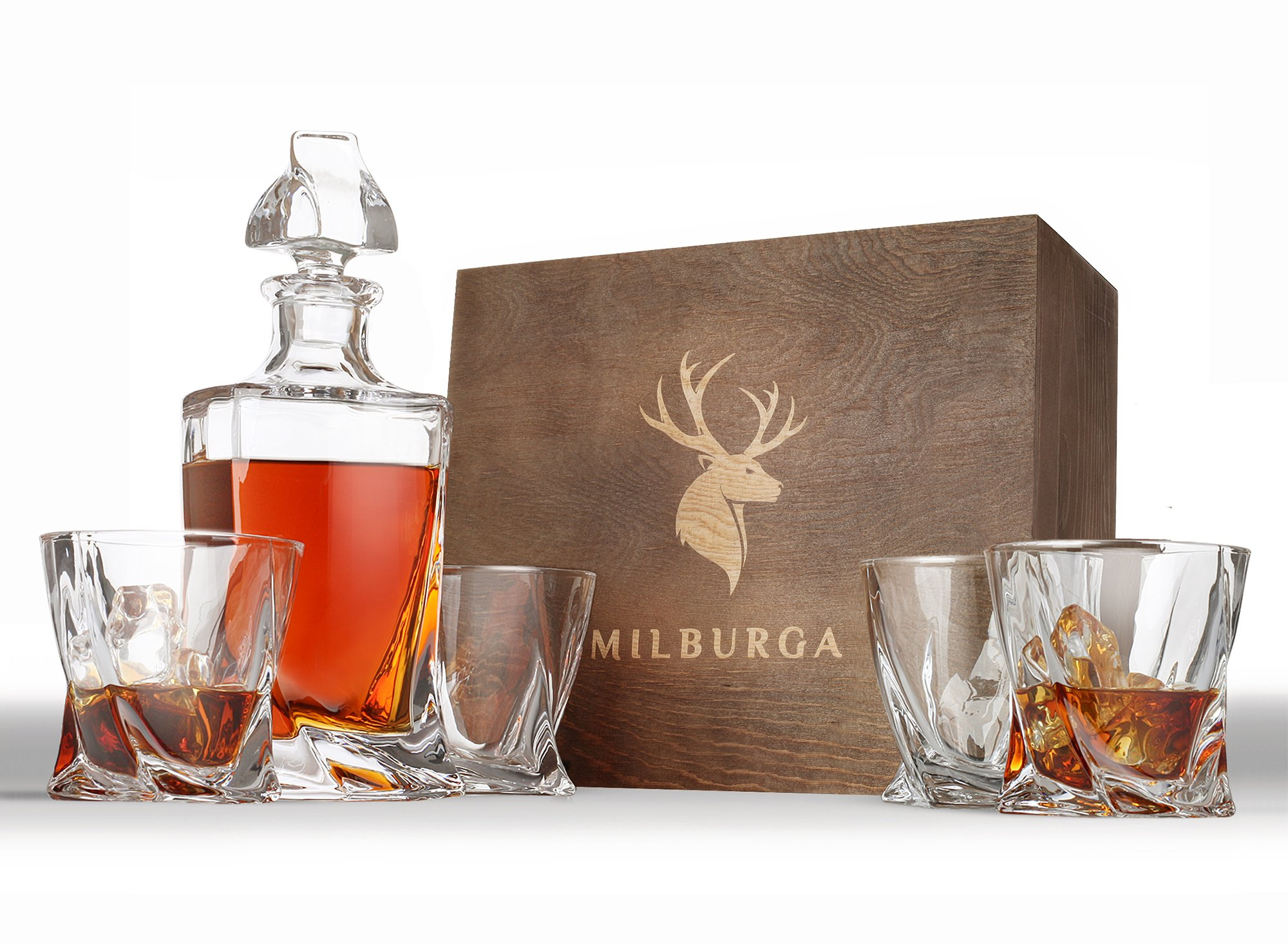 Elegant 5-Piece Whiskey Decanter Set with 4 Twist Glasses in Hand Crafted Wooden Box – Lead-Free Crystal Bourbon Decanter. Dishwasher Safe, Balanced and Regal Gift Set for Scotch or Liquor by Milburga