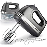 Mueller Electric Hand Mixer, 5 Speed 250W Turbo with Snap-On Storage Case and 4 Stainless Steel Accessories for Easy Whipping