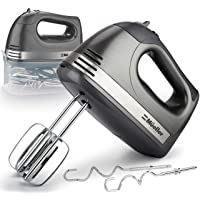 Mueller Electric Hand Mixer, 5 Speed 250W Turbo with Snap-On Storage Case and 4 Stainless Steel Accessories for Easy Whipping, Mixing Cookies, Brownies, Cakes, and Dough Batters