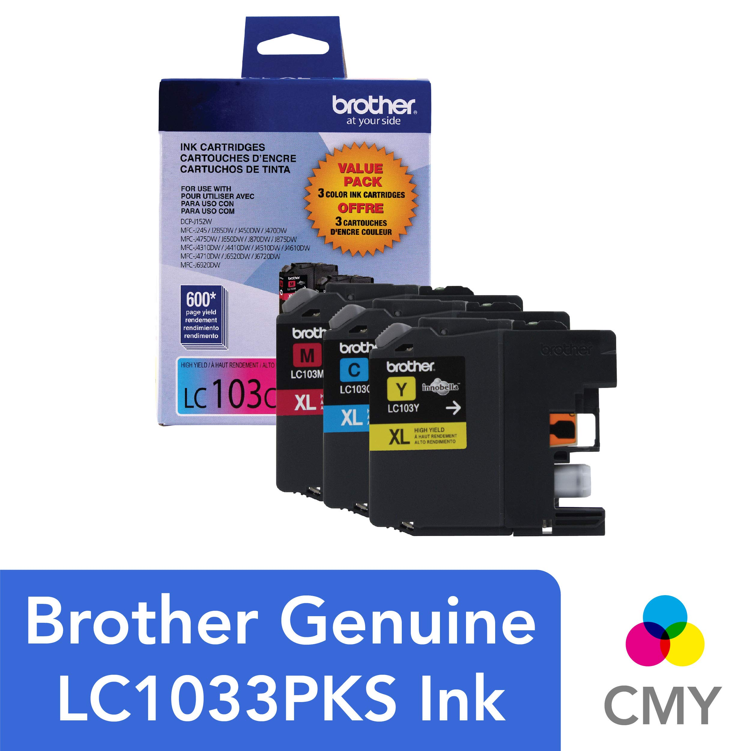 Brother Genuine High Yield Color Ink Cartridge, LC1033PKS, Replacement Color Ink Three Pack, Includes 1 Cartridge Each of Cyan, Magenta & Yellow, Page Yield Up To 600 Pages/Cartridge, LC103 by Brother