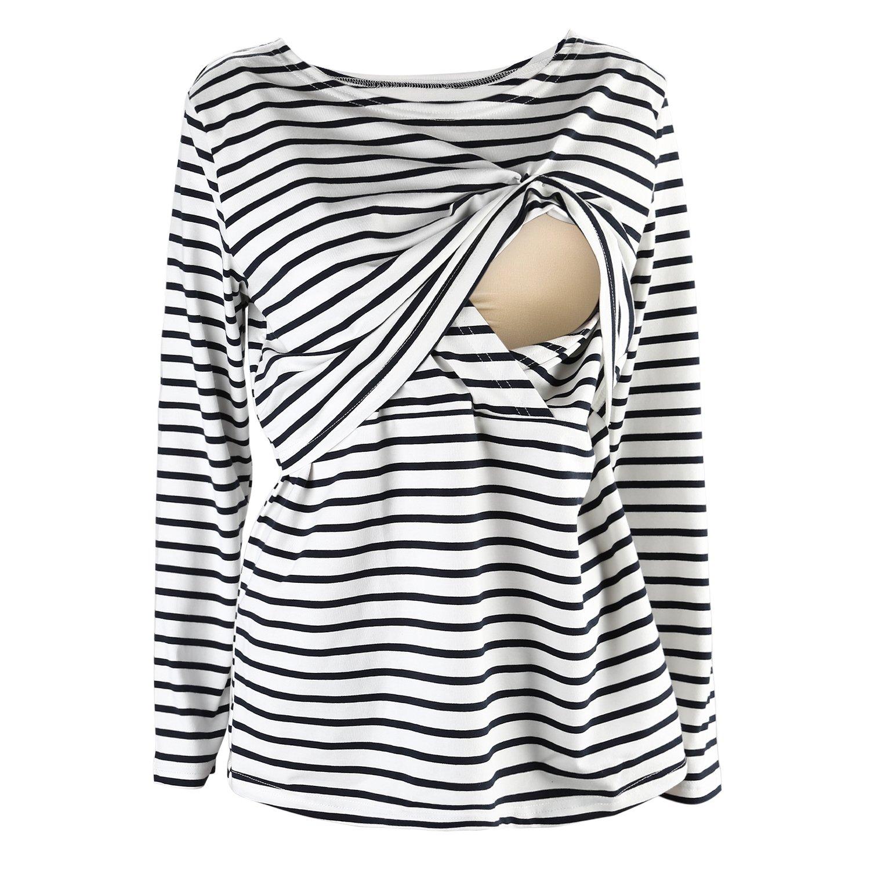 UTOVME Women's Long Sleeves Maternity Nursing Top Breastfeeding Striped T-Shirt D275FT226-PR