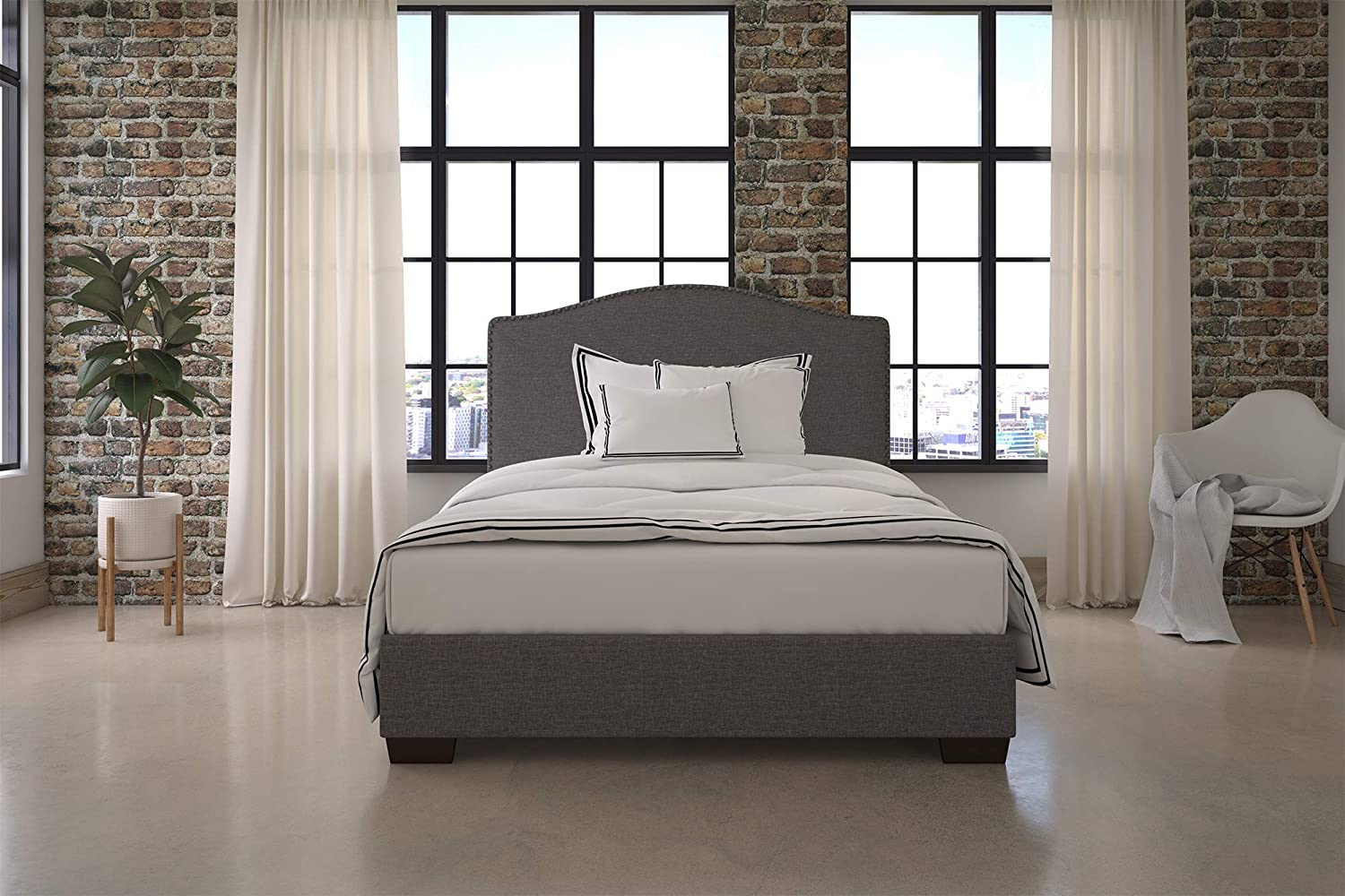 DHP Gavin Upholstered Bed with Nailhead Trim and Wood Slat Support System, Queen Size, Grey Linen