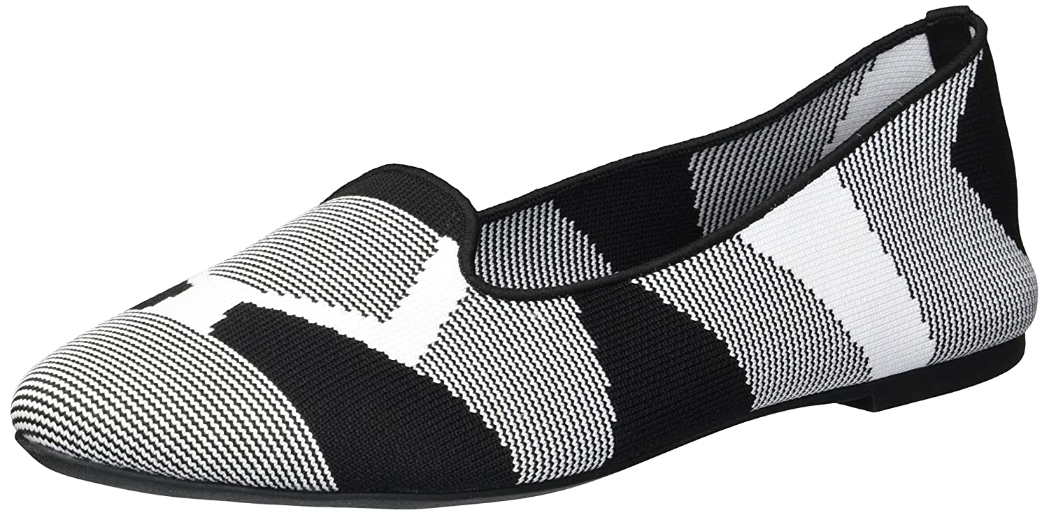 Skechers Women's Cleo-Sherlock-Engineered Knit Loafer Skimmer Ballet Flat B079HMK4D6 9 B(M) US|Black/White