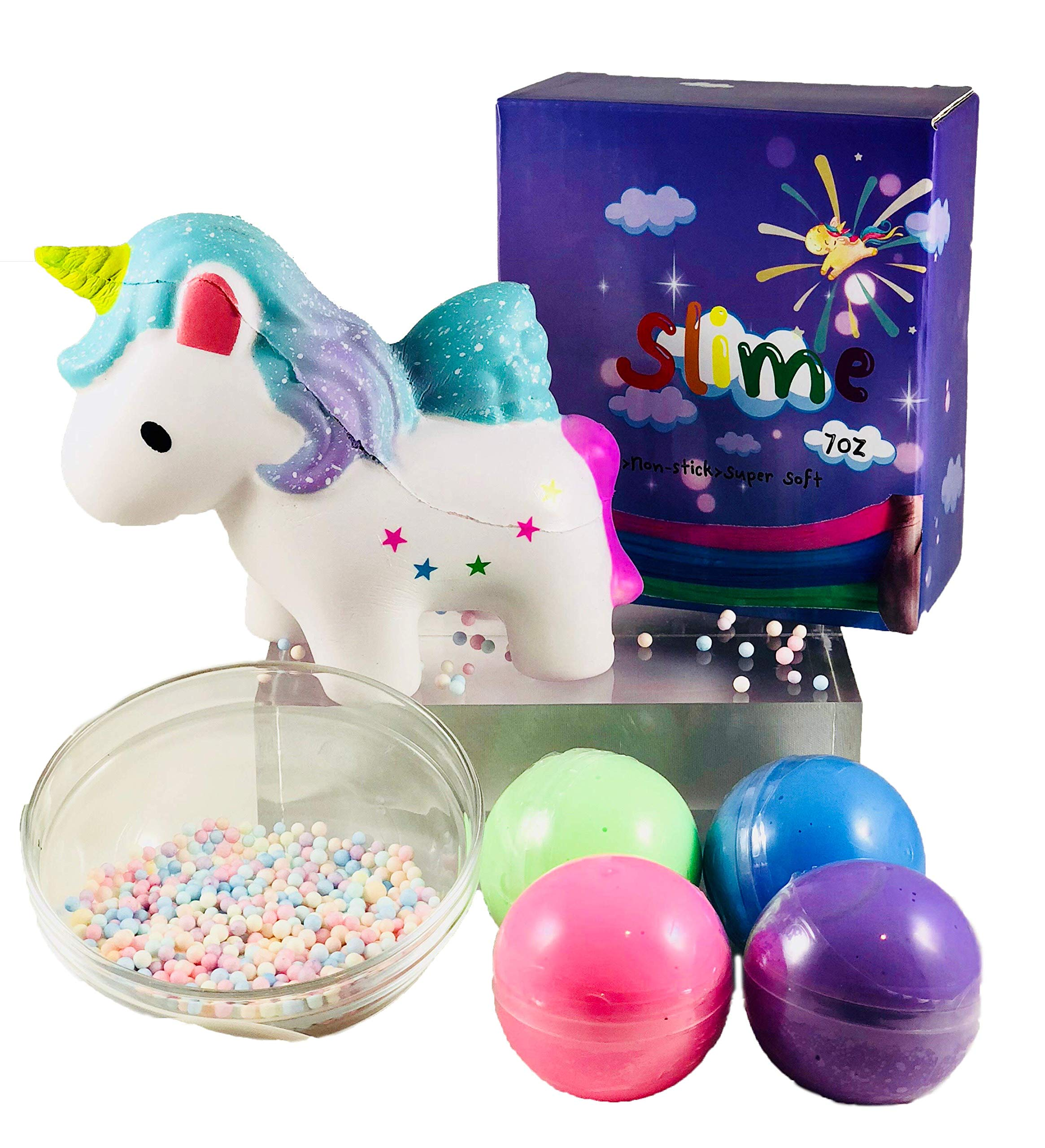 HMC PRODUCTS Slime Kit, Squishies Unicorn Poop - DIY Fluffy Slime Set, Squishie & Slime for Kids, Stress Relief Toys. 4 Colors of Slime, Beads and Unicorn Squishy, Squishie is Scented and Slow Rising