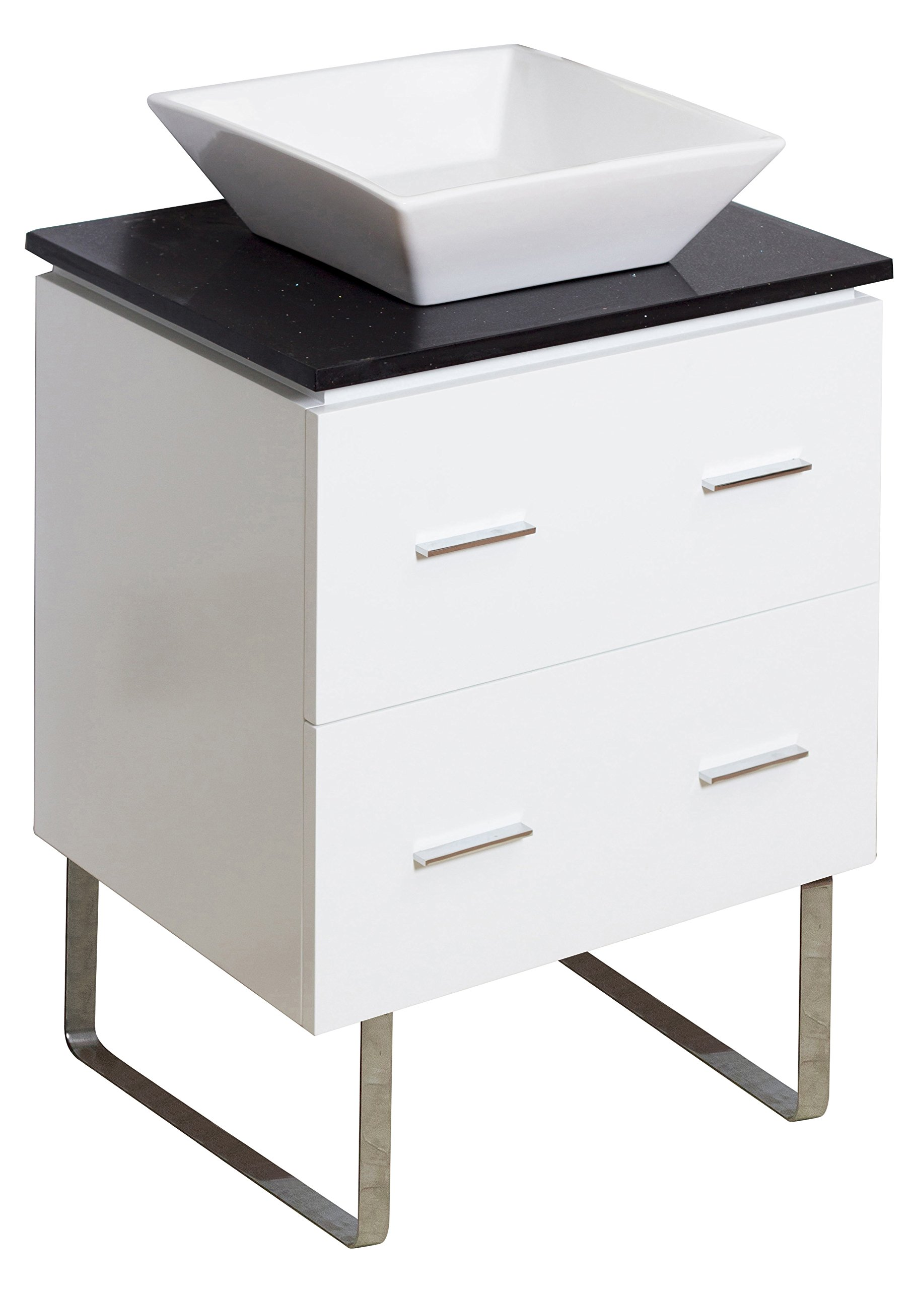 American Imaginations 732   24-Inch W X 18-Inch D Glossy White Vanity with Black Quartz Top and Square White Vessel for Single Hole Faucet