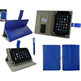 Emartbuy® BTC Flame 7 Inch Tablet PC Universal Range Blue Multi Angle Executive Folio Wallet Case Cover With Card Slots + Blue Stylus