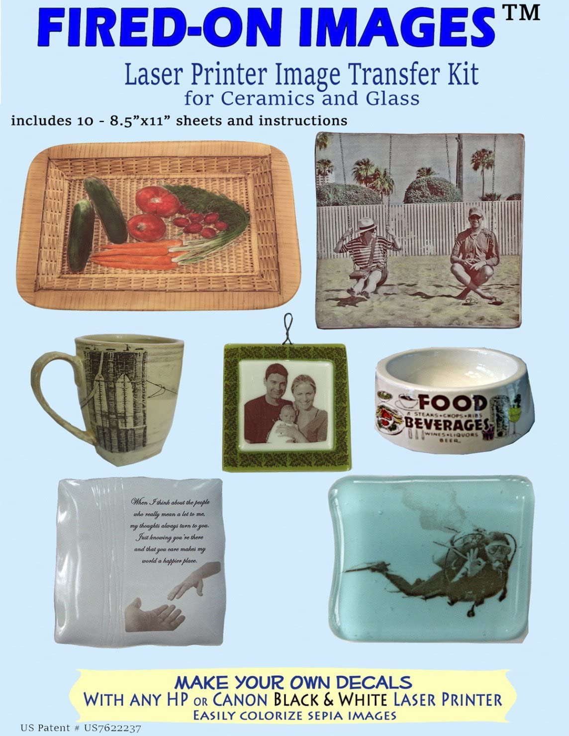 Pack of 10 8-1//2 X 11 in Heirloom Ceramics Press Fired-On Images Multi-Surface Fired On Image Transfer Paper