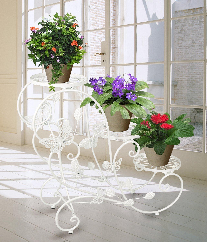 tag re fleurs porte pots de plante de jardin int rieur ext rieur en metal fer ebay. Black Bedroom Furniture Sets. Home Design Ideas