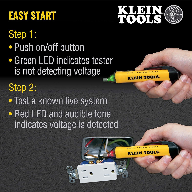 D/étecteur de Tension Sans Contact KKmoon/® Testeur de Tension /électrique Testeur de Stylet Sans Contact AC//DC D/étecteur de Tension Continuit/é Crayon de Test de Batterie avec Alarme Sonore