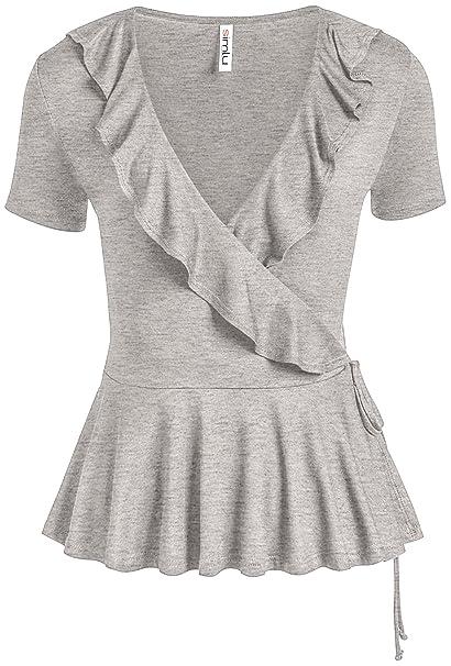 b78e05927ee Heather Grey Wrap Top Deep V Neck Summer Shirt Peplum Regular and Plus Size  Ruffle Top