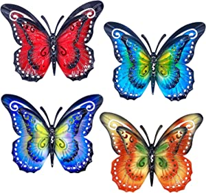 Metal Butterfly Wall Decor - Set of 4 Double Wings Butterflies Tropical Decor,Indoor and Outdoor Wall Art Decorations for Home, Room, Garden, Patio, Fence, Yard (Set of 4 Double Wings Butterflies)