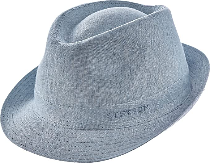 new authentic info for later stetson men s geneva linen fedora hat, light blue, l: Amazon ...