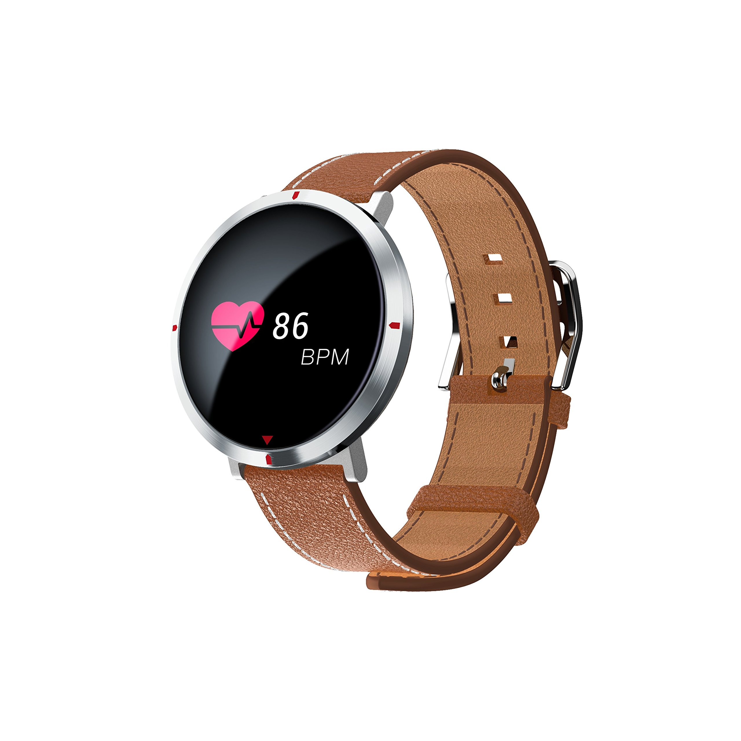 Fitness Tracker, Heart Rate Monitor Activity Tracker Round Screen Smart Wristband With Sleep Monitor Pedometer Sleep Monitor Stopwatch SMS Call Notification Remote Camera Music for iOS/Android (Brown) by Navyin