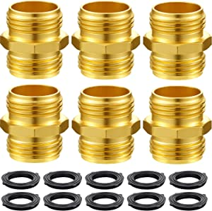 Tatuo 6 Pack 3/4 Inch Garden Hose Double Male Quick Connector Adapter with Extra 10 Pack Washer for Standard Garden Hose