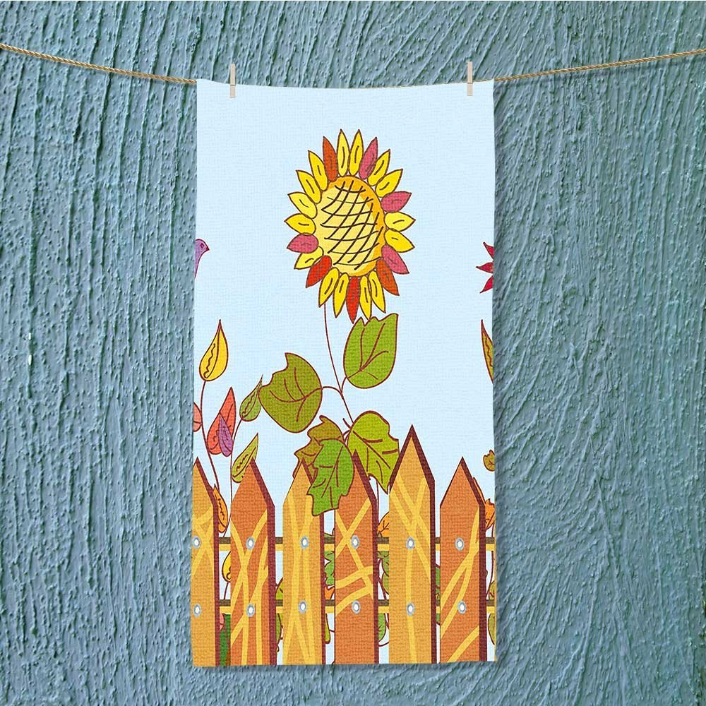 SCOCICI1588 Soft Luxury Towel Sun behind the Wood Fences and Birds in Air Daisy Blooms Graphic Absorbent Ideal for everyday use W11.8 x H27.5 INCH by SCOCICI1588 (Image #1)