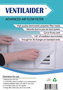 "Ventilaider Complete Air Vent Filter Set 20"" x 84"" Electrostatic Media With 126"" of Installation Tape 35+ Filters per Roll for HVAC, AC & Heating Intake Registers & Grilles to Reduce Dust and Allergy"