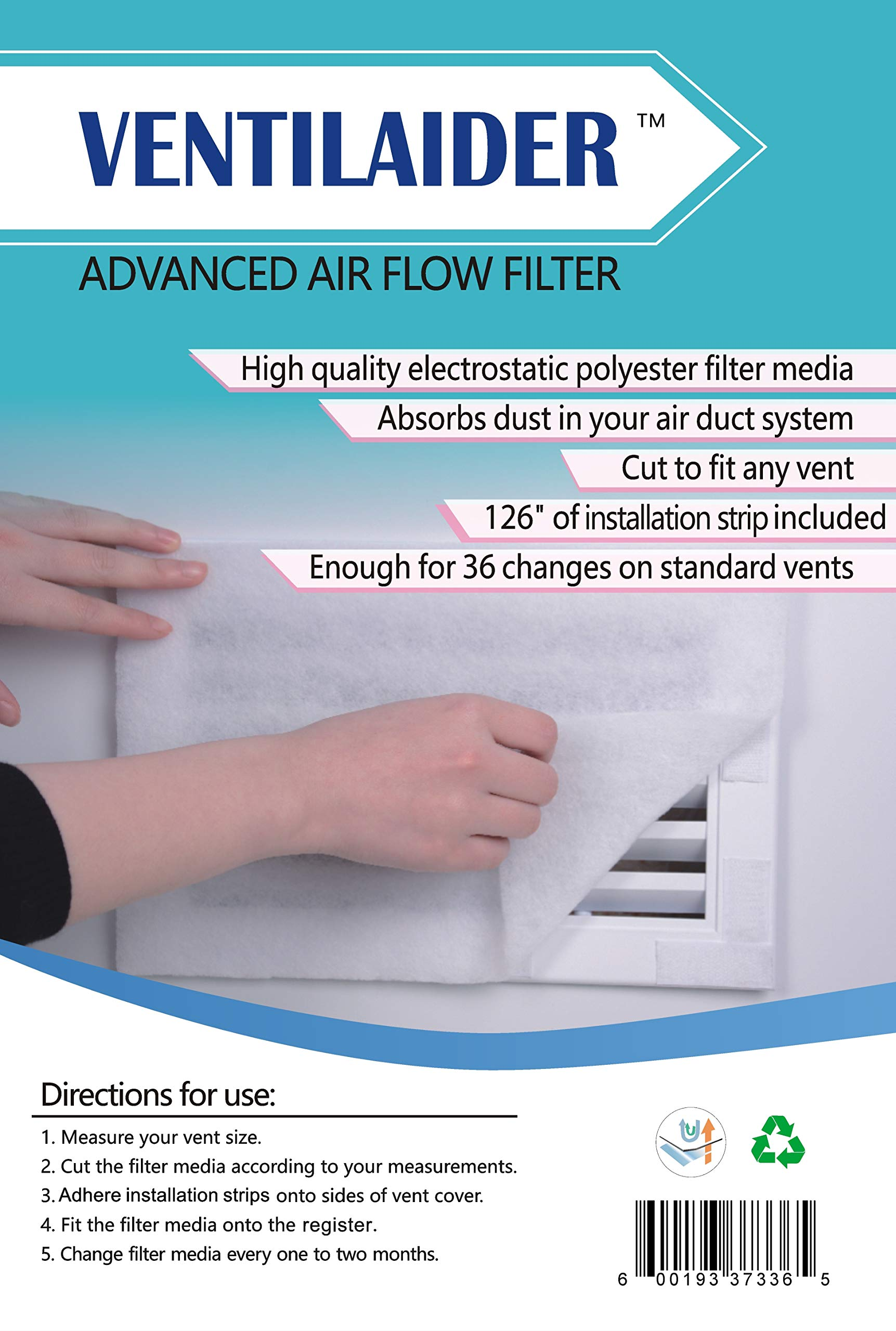 Ventilaider Complete Air Vent Filter Set 20'' x 84'' Electrostatic Media With 126'' of Installation Tape 35+ Filters per Roll for HVAC, AC & Heating Intake Registers & Grilles to Reduce Dust and Allergy